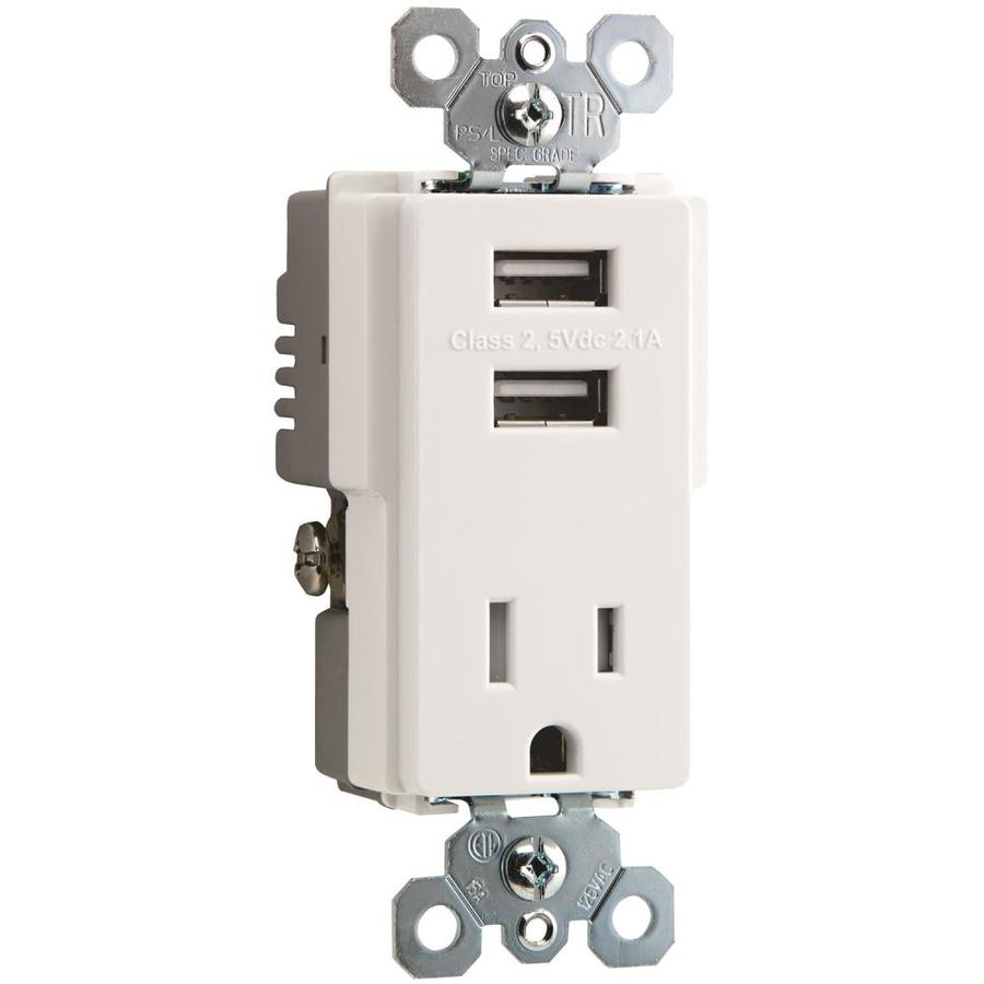 Legrand Radiant 15-Amp 125-Volt White Indoor Decorator Wall Tamper Resistant Outlet/USB