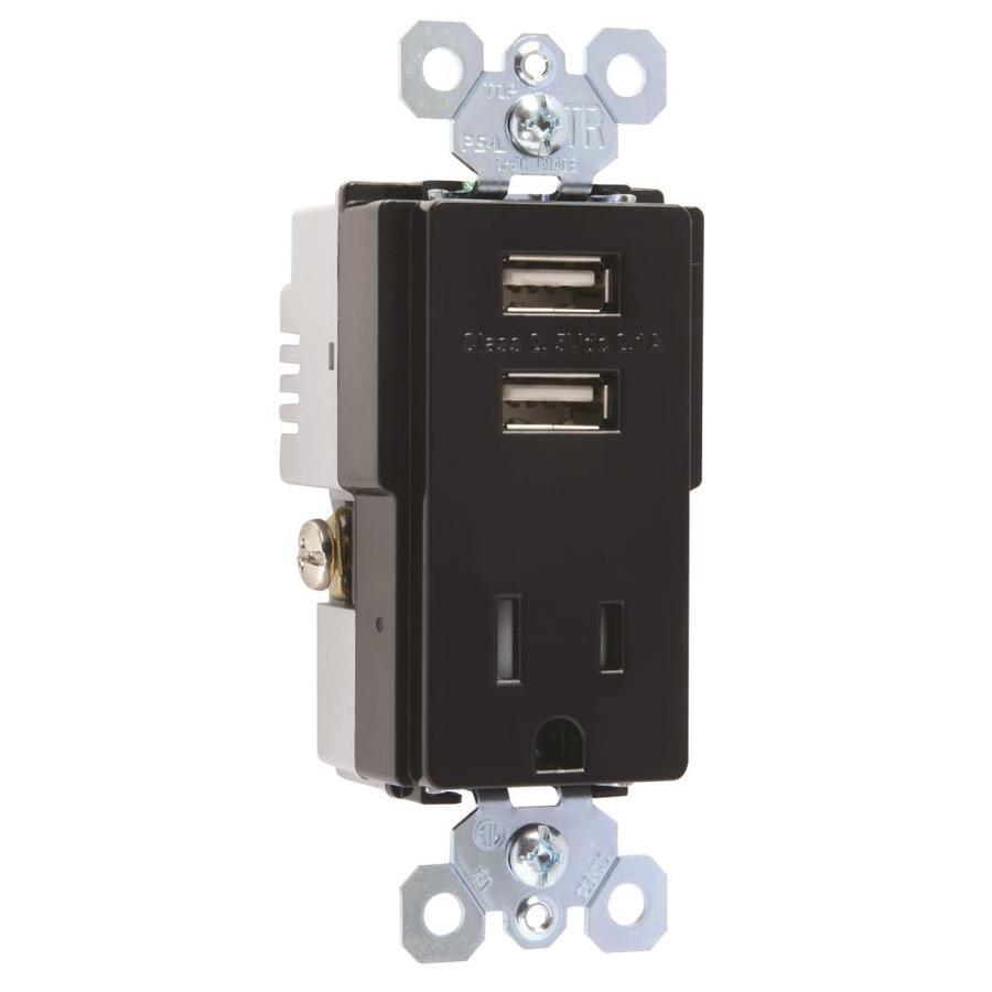 Legrand Radiant 15-Amp 125-Volt Black Indoor Decorator Wall Tamper Resistant Outlet/Usb
