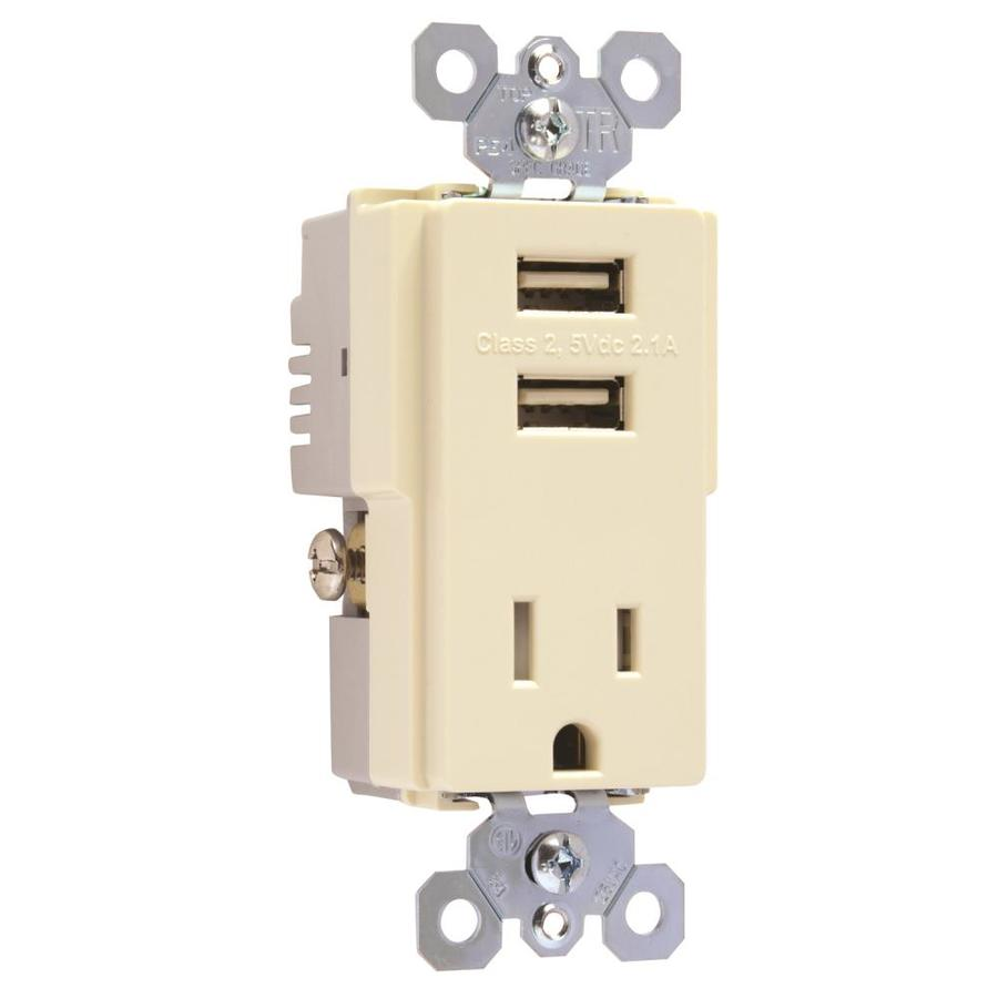 Legrand Radiant 15-Amp 125-Volt Light Almond Indoor Decorator Wall Tamper Resistant Outlet/Usb