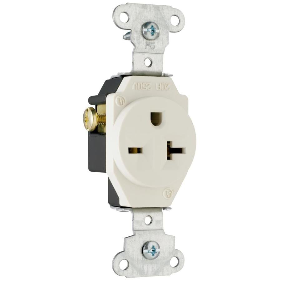 Legrand 20-Amp 250-Volt Light Almond Indoor Round Wall Outlet