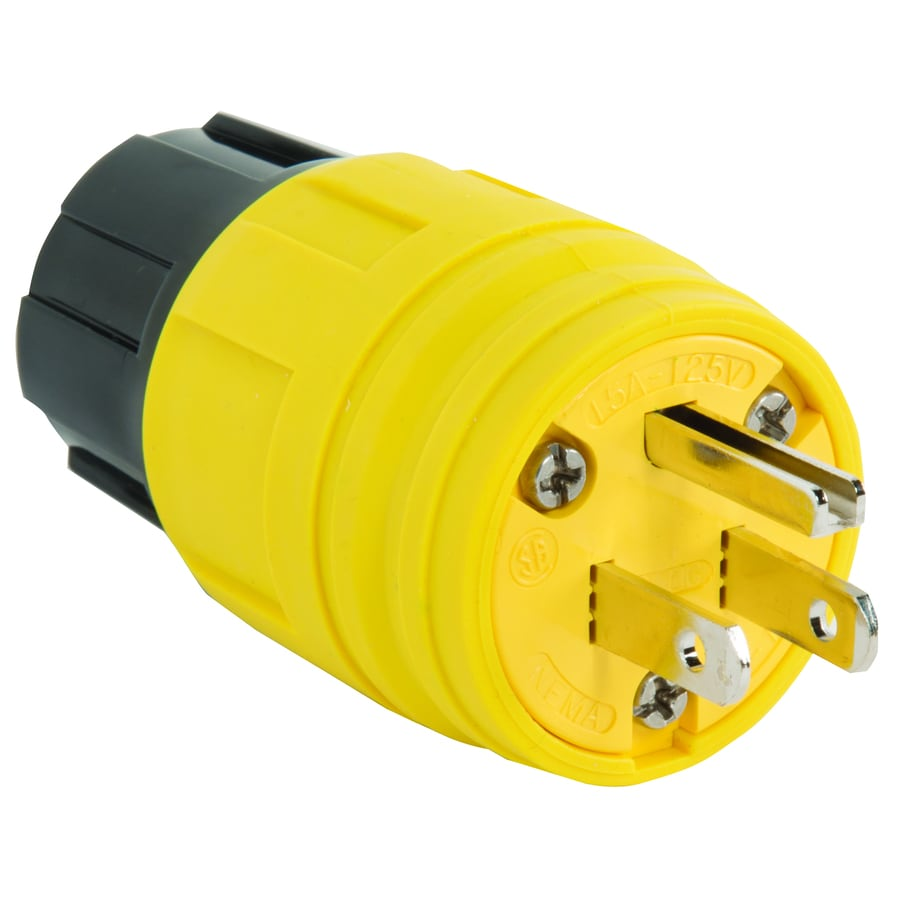 Pass & Seymour/Legrand 15-Amp 125-Volt yellow 3 wire watertight plug