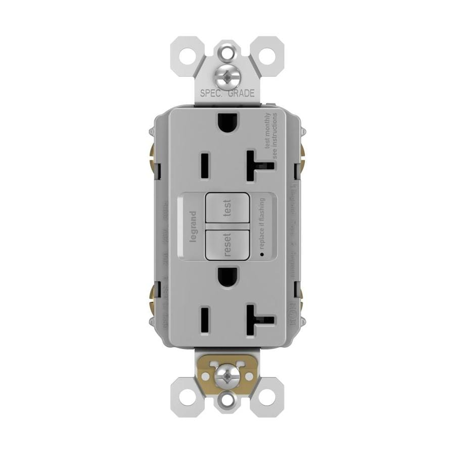 Legrand Radiant 20-Amp 120/125-Volt Gray Indoor GFCI Decorator Wall Tamper Resistant Outlet