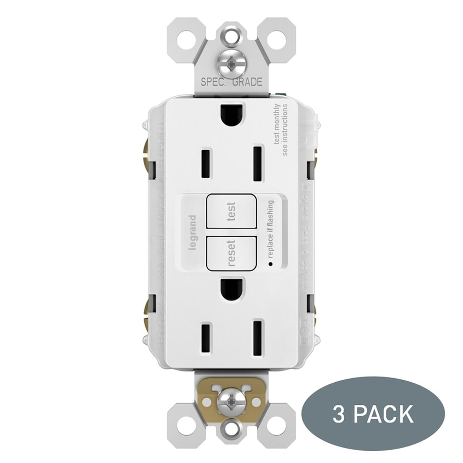 Legrand Radiant 3-Pack 15-Amp 125-Volt White Indoor GFCI Decorator Wall Tamper Resistant Outlet