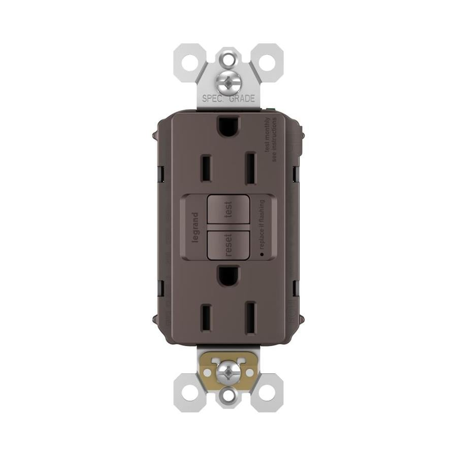 Legrand Radiant 15-Amp 125-Volt Dark Bronze Indoor GFCI Decorator Wall Tamper Resistant Outlet