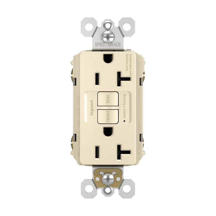 volt light almond indoor gfci decorator wall tamper resistant outlet. Black Bedroom Furniture Sets. Home Design Ideas