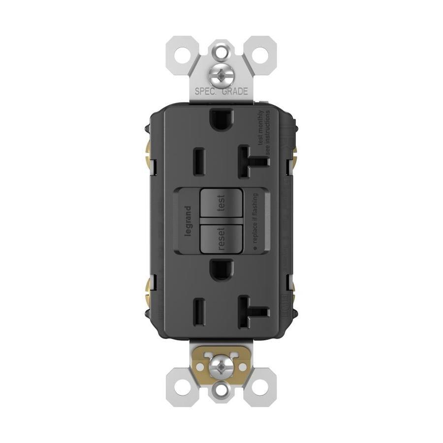 Legrand Radiant 20-Amp 125-Volt Black Indoor GFCI Decorator Wall Tamper Resistant Outlet