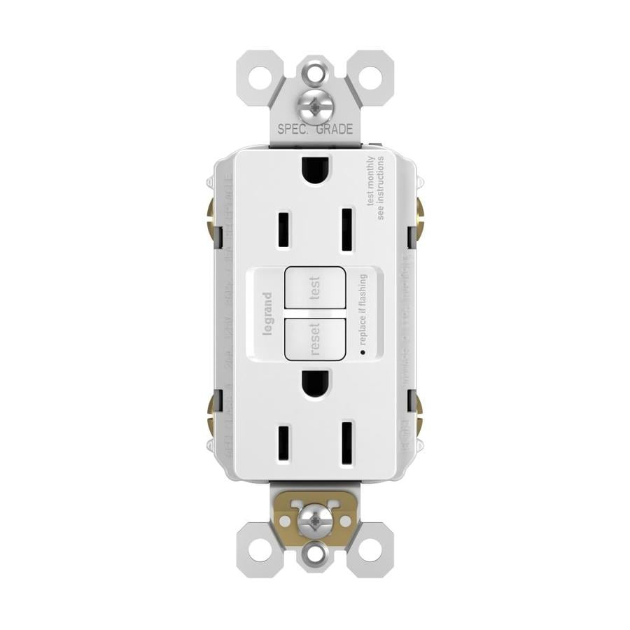 Legrand Radiant 15-Amp 125-Volt White Indoor GFCI Decorator Wall Outlet
