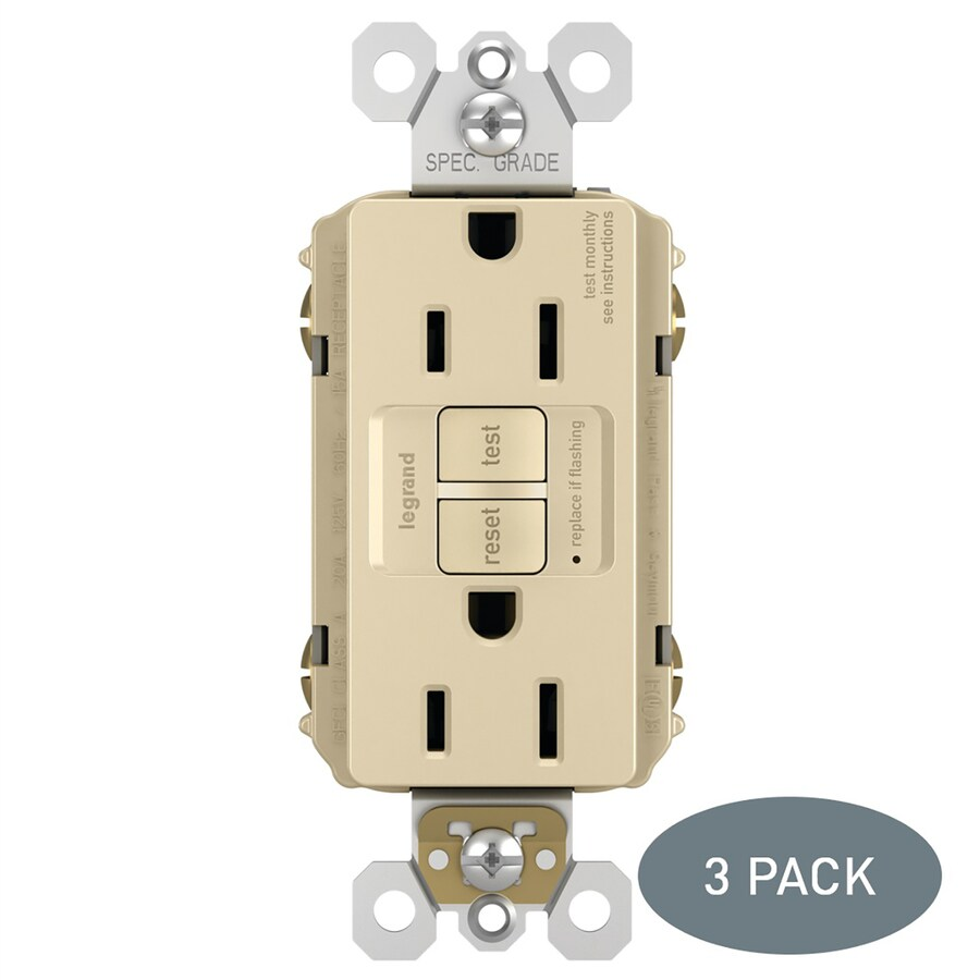 Legrand Radiant 3-Pack 15-Amp 125-volt Ivory Indoor Gfci Decorator Wall Outlet