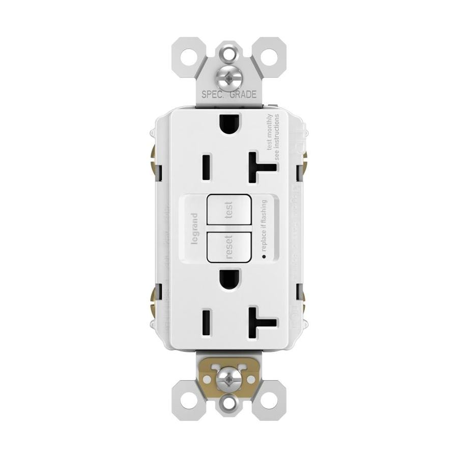 Legrand Radiant 20-Amp 125-Volt White Indoor GFCI Decorator Wall Tamper Resistant Outlet