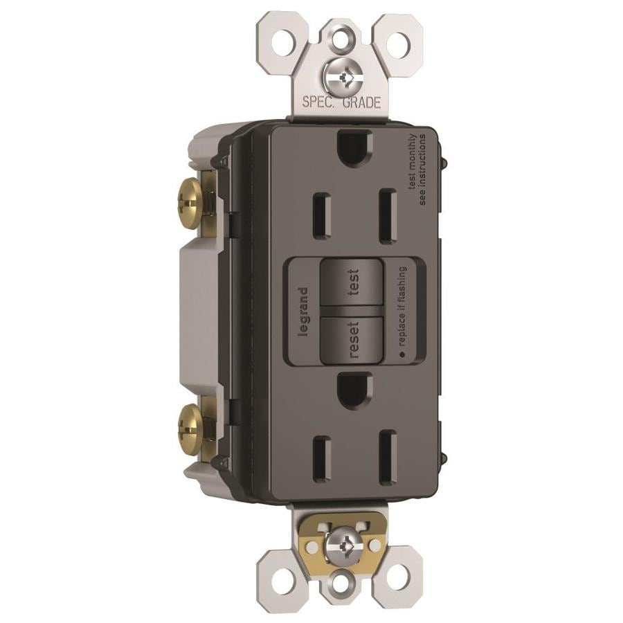 Legrand Radiant 15-Amp 125-Volt Black Indoor GFCI Decorator Wall Outlet