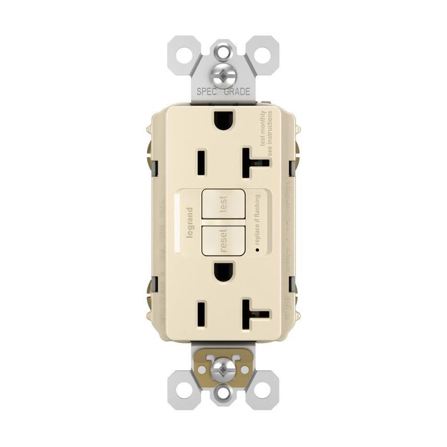 Legrand Radiant 20-Amp 125-Volt Light Almond Indoor GFCI Decorator Wall Outlet