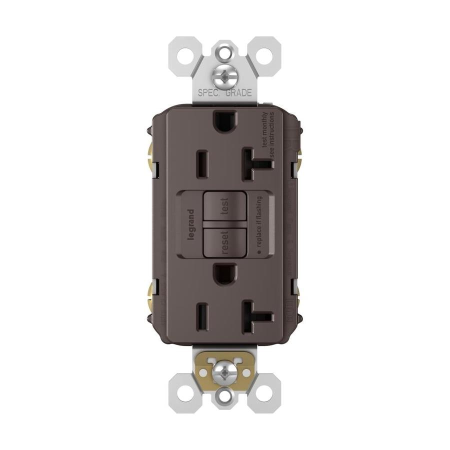 Legrand Radiant 20-Amp 125-Volt Brown Indoor GFCI Decorator Wall Tamper Resistant Outlet