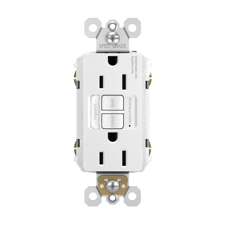 Legrand Radiant 15-Amp 125-Volt White Indoor GFCI Decorator Wall Tamper Resistant Outlet
