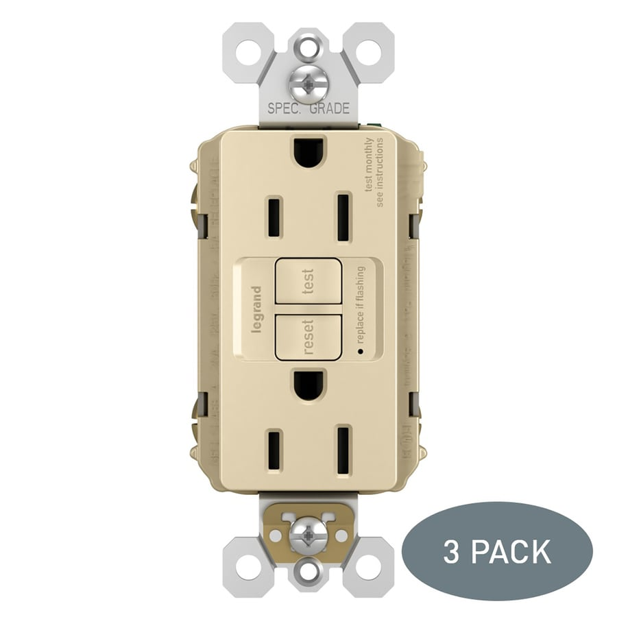 Legrand Radiant 3-Pack 15-Amp 125-Volt Ivory Indoor GFCI Decorator Wall Tamper Resistant Outlet
