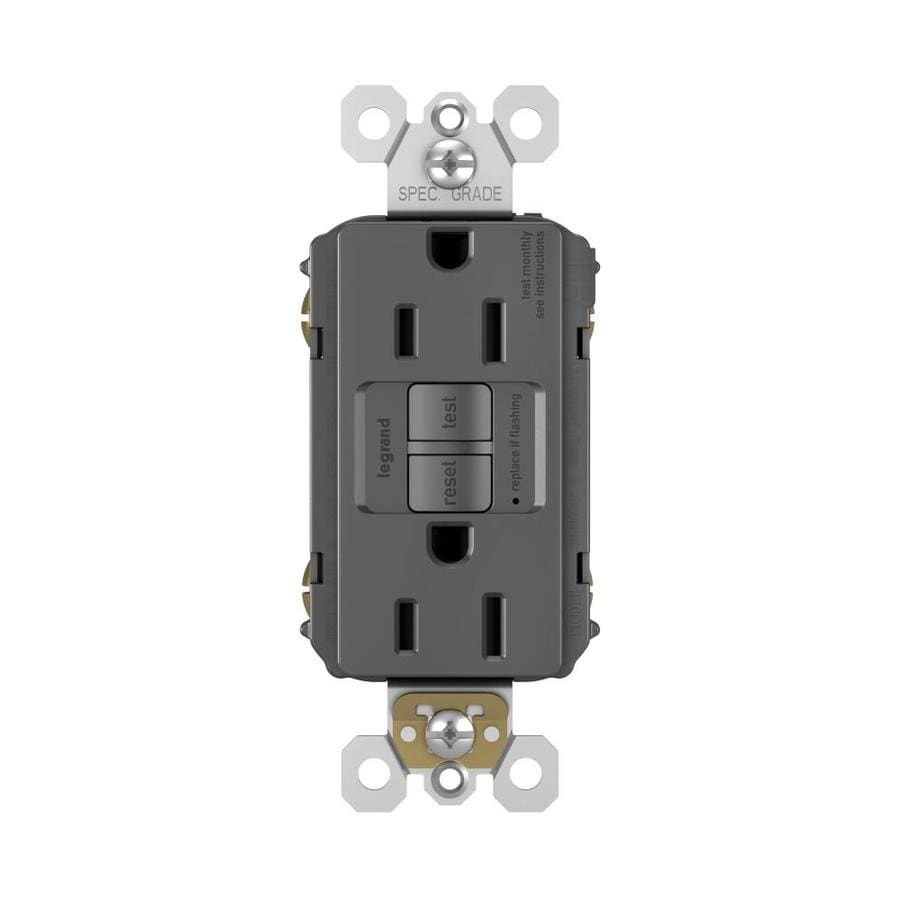 Legrand Radiant 15-Amp 125-Volt Black Indoor GFCI Decorator Wall Tamper Resistant Outlet