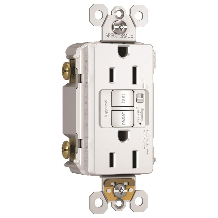 Legrand Radiant 15-Amp 125-Volt White Indoor GFCI Decorator Wall Tamper Resistant Outlet