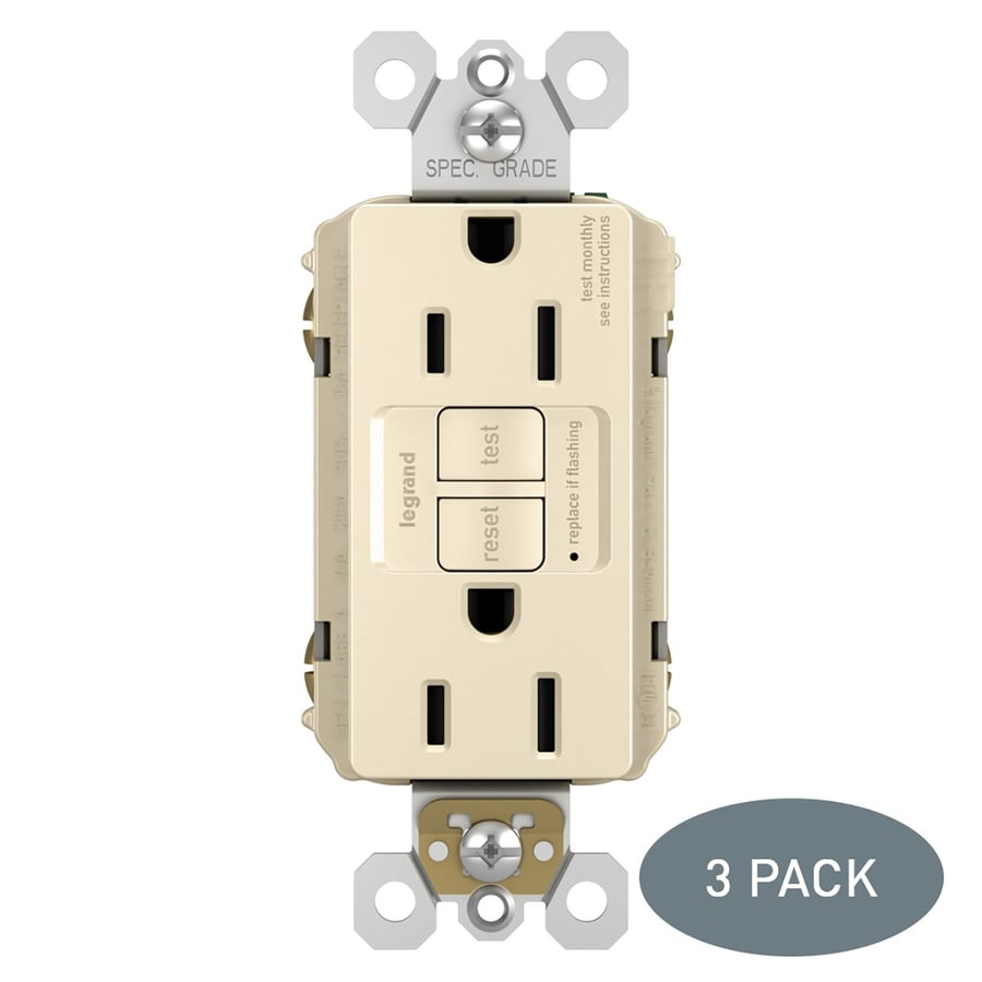 Legrand Radiant 3-Pack 15-Amp 125-Volt Light Almond Indoor GFCI Decorator Wall Tamper Resistant Outlet