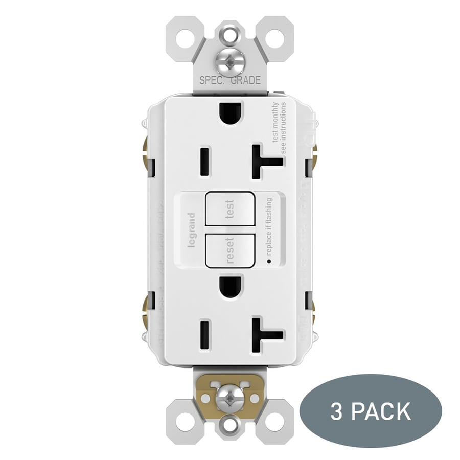 shop electrical outlets at lowes com legrand radiant 3 pack 20 amp 125 volt white indoor gfci decorator wall