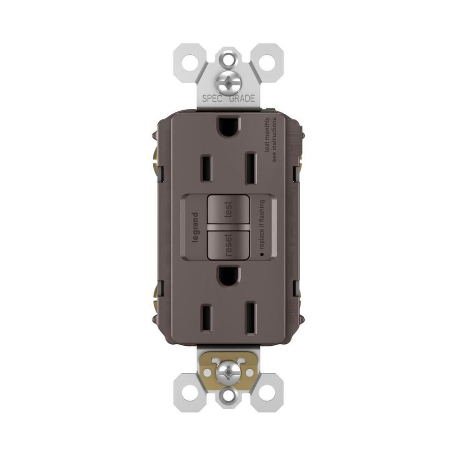 Legrand Radiant 15-Amp 125-Volt Brown Indoor GFCI Decorator Wall Tamper Resistant Outlet