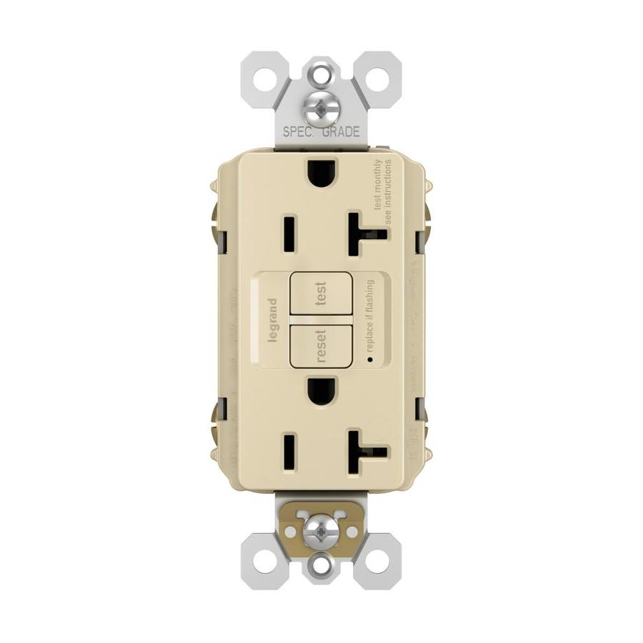 Legrand Radiant 20-Amp 125-Volt Ivory Indoor GFCI Decorator Wall Outlet