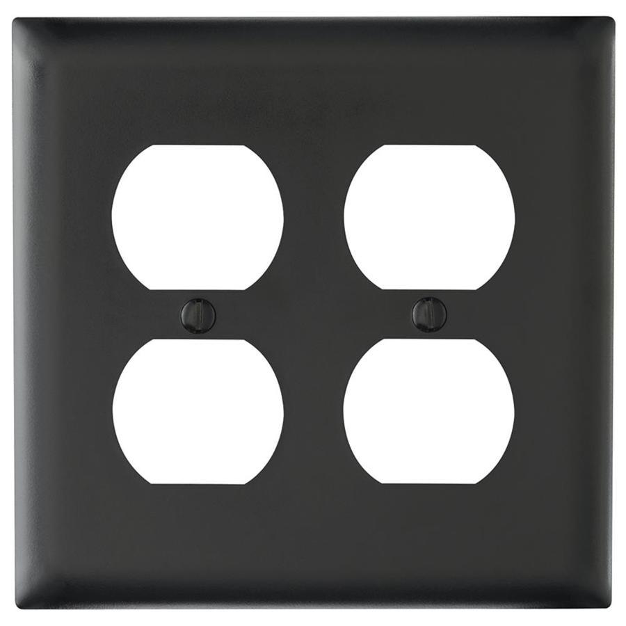 Legrand Trademaster 2-Gang Black Double Duplex Wall Plate