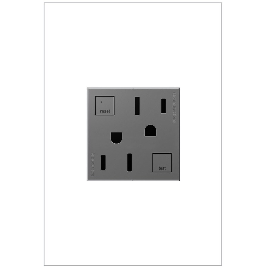 Legrand Adorne 15-Amp 125-Volt Magnesium Indoor GFCI Square Wall Tamper Resistant Outlet