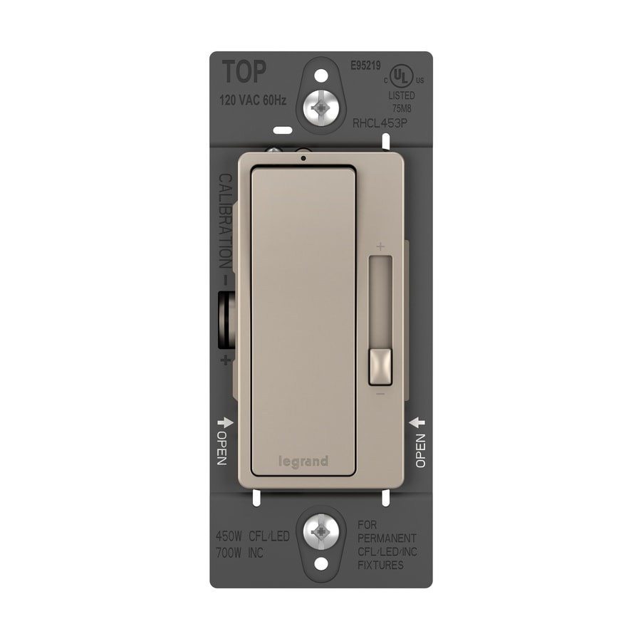 shop lighting controls at lowes com legrand radiant 450 watt single pole 3 way nickel indoor rocker dimmer