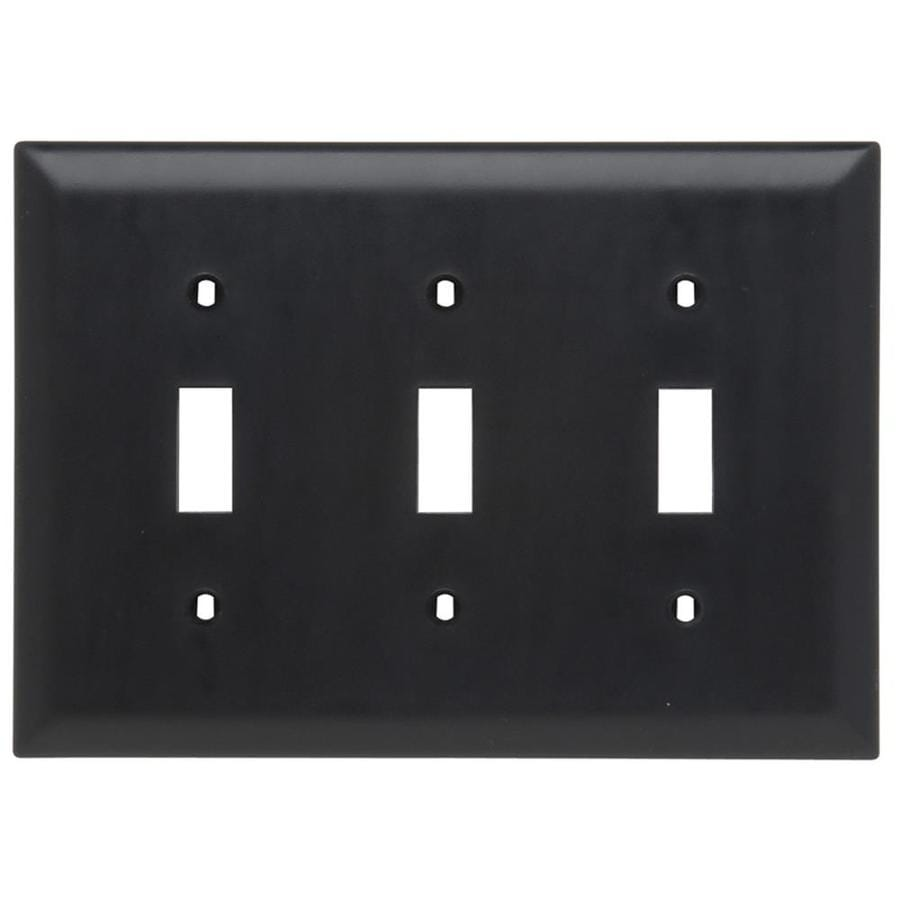 Legrand Trademaster 3-Gang Black Triple Toggle Wall Plate