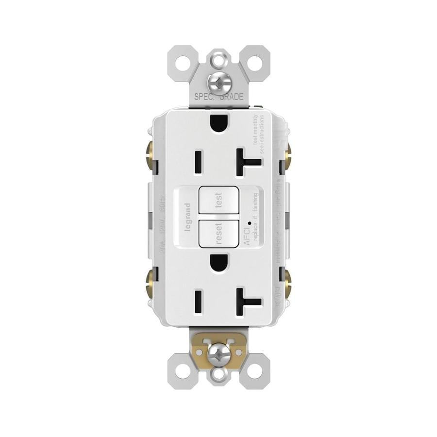 Legrand Radiant White 20 Amp Decorator Outlet Afci Protection Installing Gfci Circuit Breaker Industrial