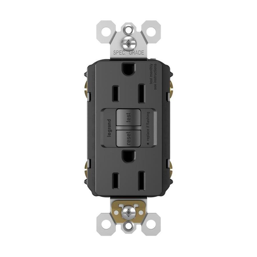 Radiant 15-Amp 125-Volt Black Indoor GFCI Decorator Wall Outlet
