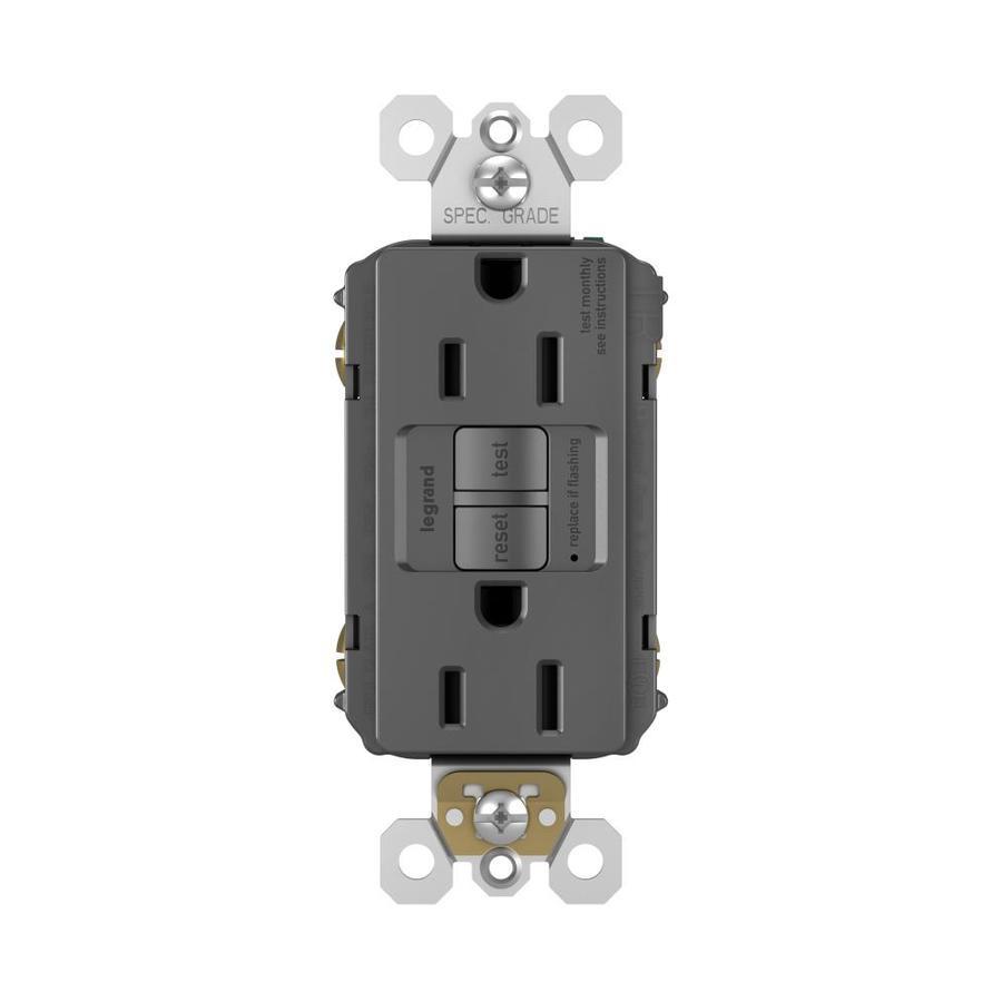 Legrand 15-Amp 125-Volt Black Indoor GFCI Decorator Wall Tamper Resistant Outlet