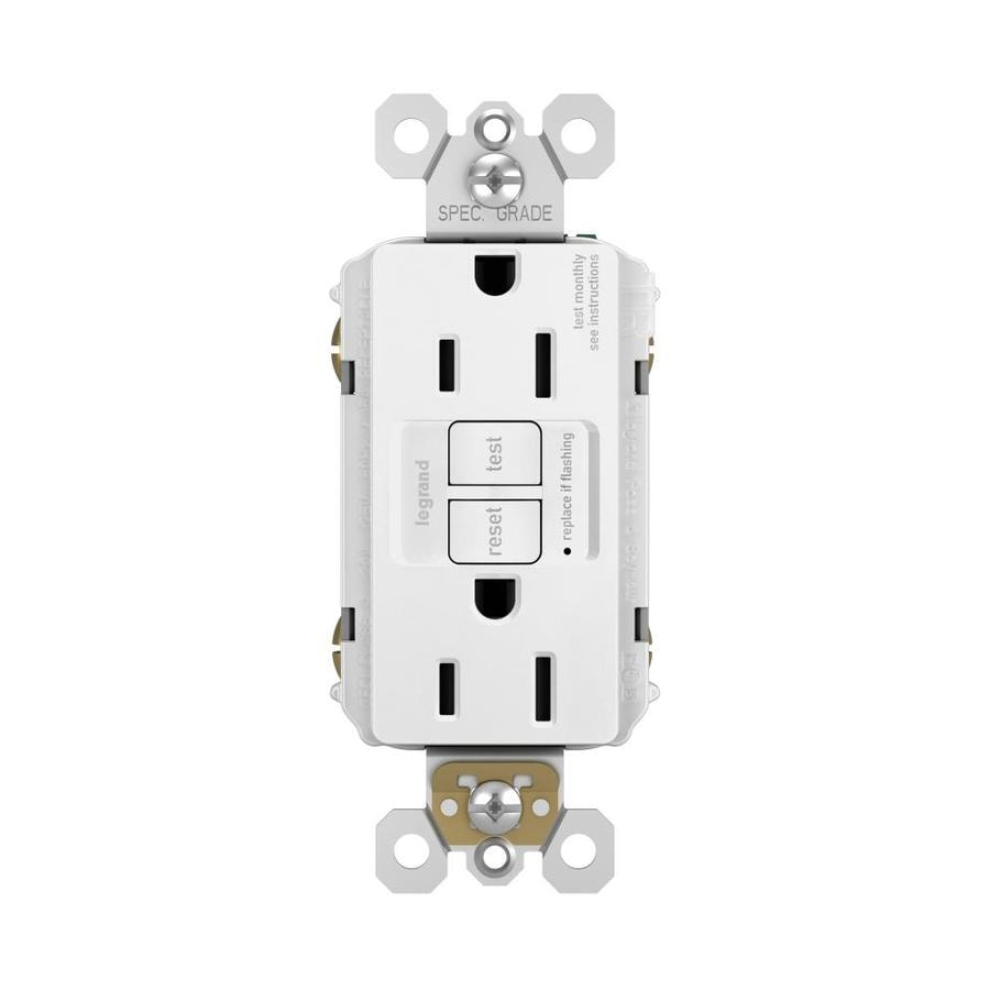 Legrand 15-Amp 125-Volt White Indoor GFCI Decorator Wall Tamper Resistant Outlet