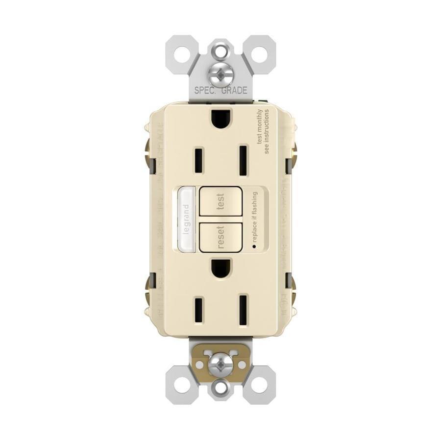 Radiant 15-Amp 125-Volt Light Almond Indoor GFCI Decorator Wall Tamper Resistant Outlet
