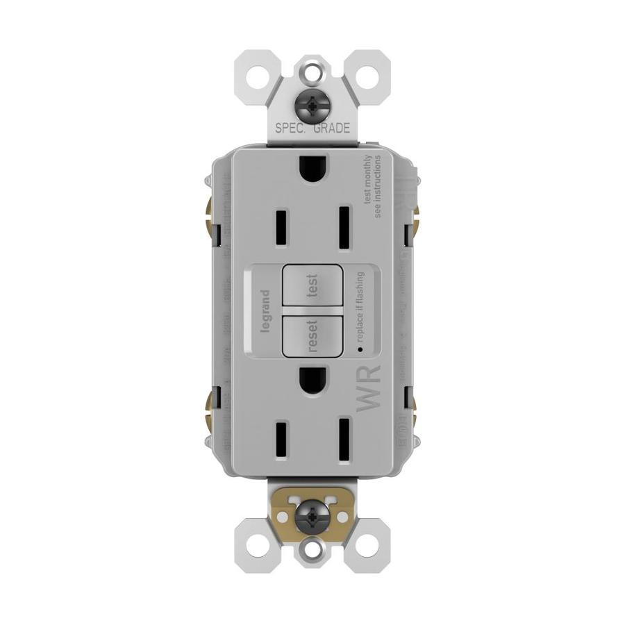 Radiant 15-Amp 125-Volt Gray Indoor/Outdoor GFCI Decorator Wall Tamper Resistant Outlet