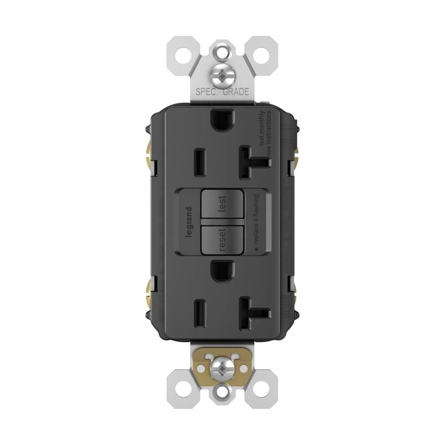 Legrand 20-Amp 125-Volt Black Indoor GFCI Decorator Wall Tamper Resistant Outlet