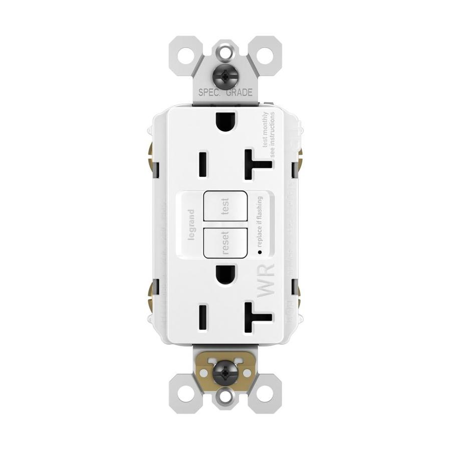Radiant 20-Amp 125-Volt White Indoor/Outdoor GFCI Decorator Wall Tamper Resistant Outlet