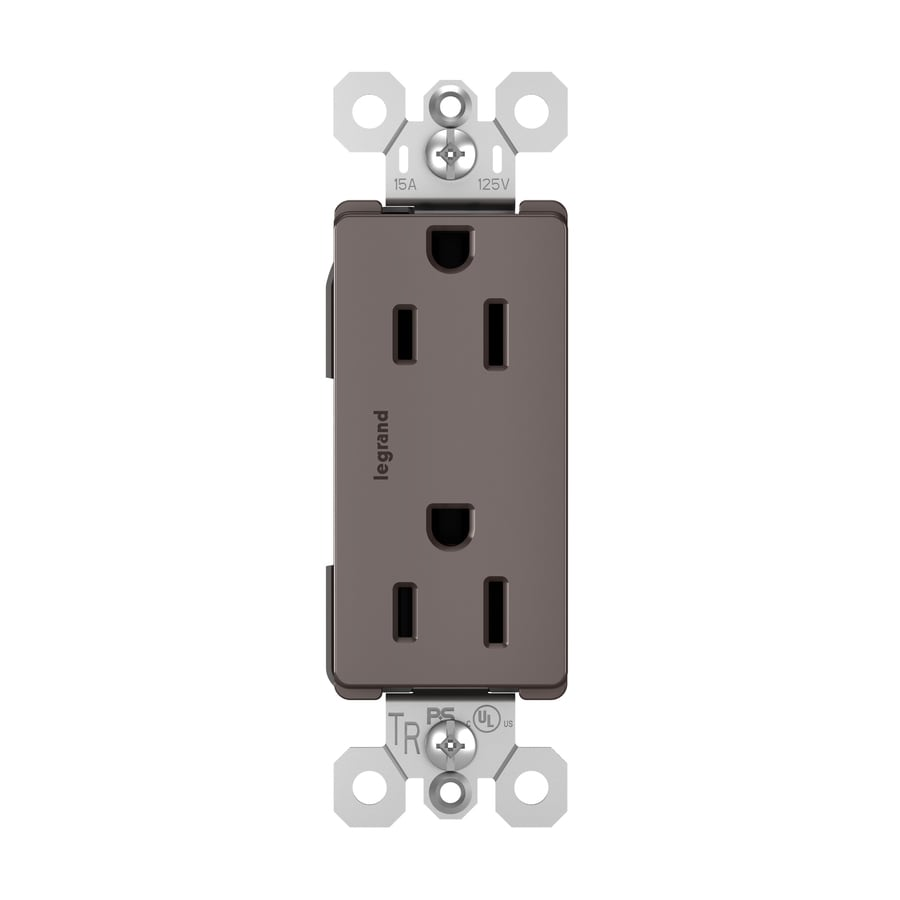Pass & Seymour/Legrand Radiant 15-Amp 125-Volt Brown Indoor Decorator Wall Tamper Resistant Outlet
