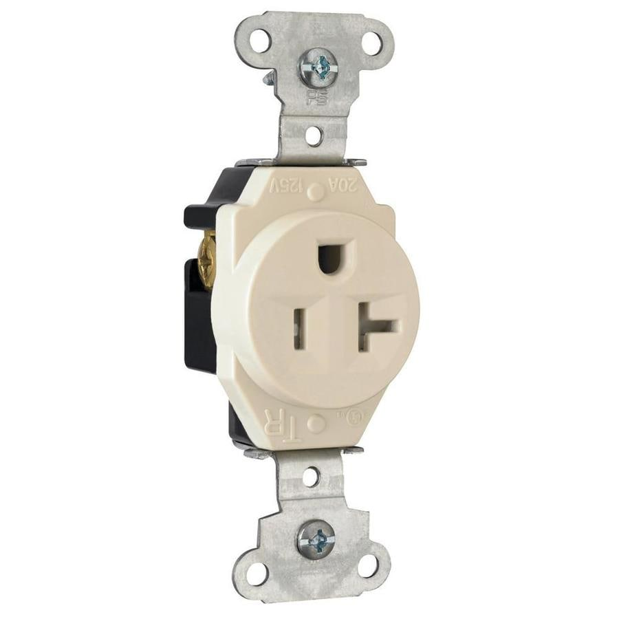 Pass & Seymour/Legrand 20-Amp 125-Volt Light Almond Indoor Round Wall Tamper Resistant Outlet