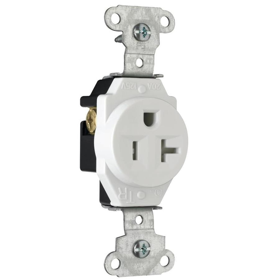 Pass & Seymour/Legrand 20-Amp 125-Volt White Indoor Round Wall Tamper Resistant Outlet
