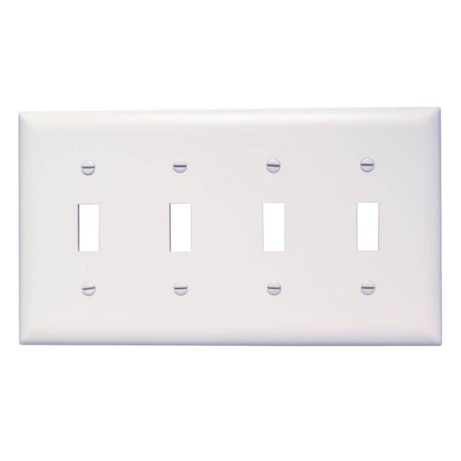 Pass & Seymour/Legrand Trademaster 4-Gang White Quad Toggle Wall Plate