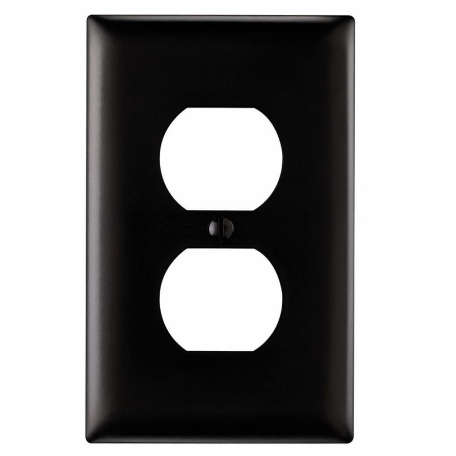 Pass & Seymour/Legrand Trademaster 1-Gang Black Single Duplex Wall Plate