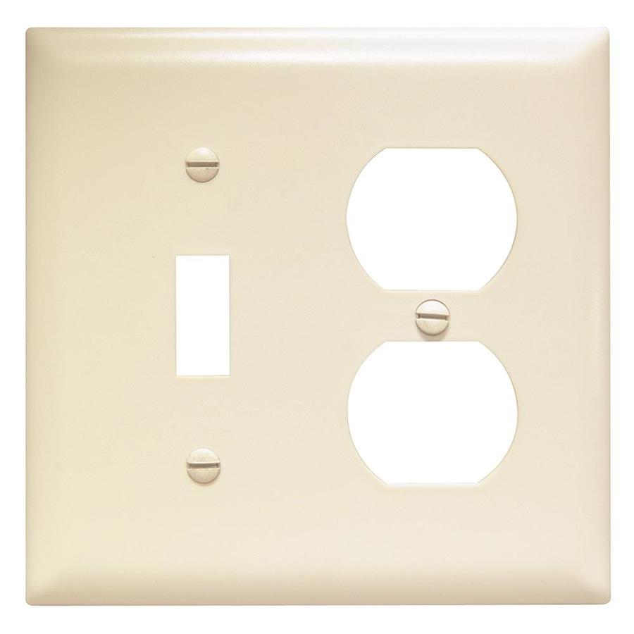Pass & Seymour/Legrand Trademaster 2-Gang Light Almond Double Toggle/Duplex Wall Plate