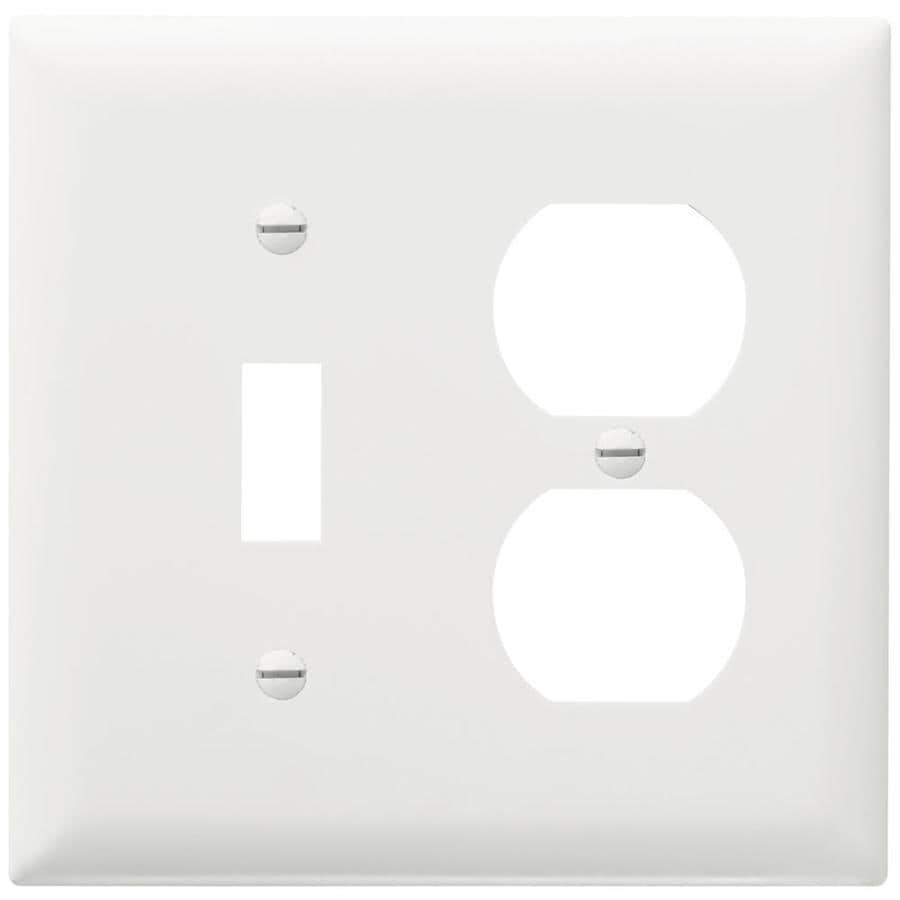 Pass & Seymour/Legrand Trademaster 2-Gang White Double Toggle/Duplex Wall Plate