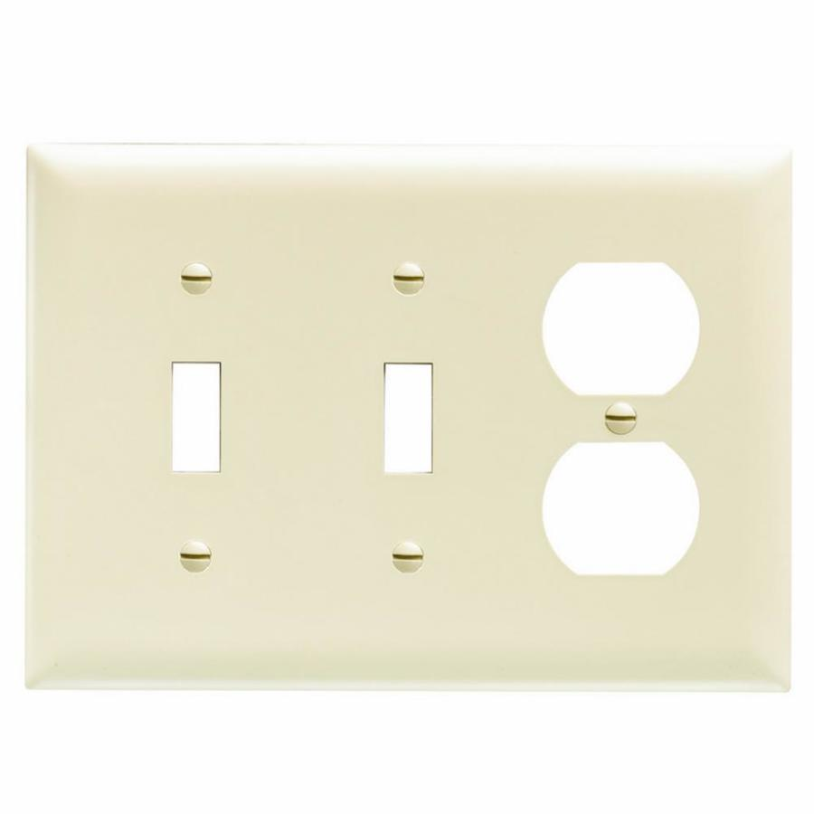 Pass & Seymour/Legrand Trademaster 3-Gang Light Almond Triple Toggle/Duplex Wall Plate