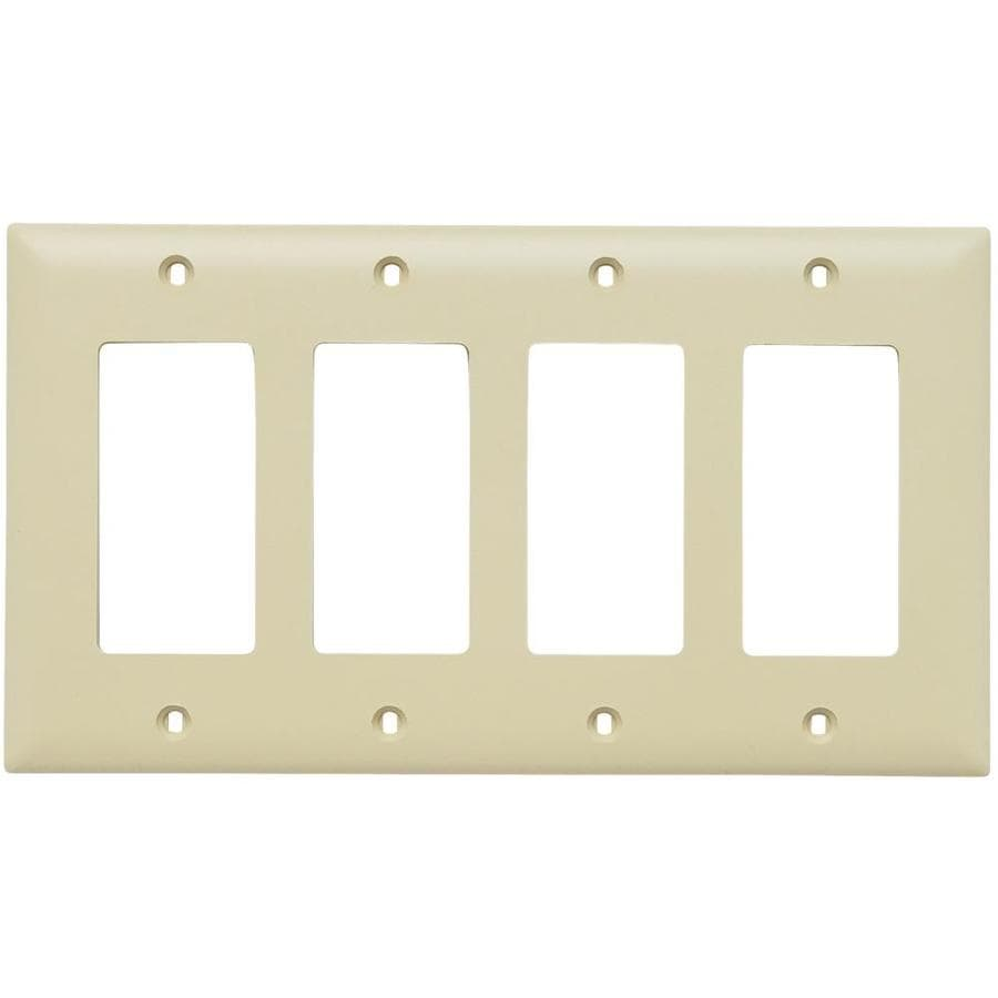 Pass & Seymour/Legrand Trademaster 4-Gang Ivory Quad Decorator Wall Plate
