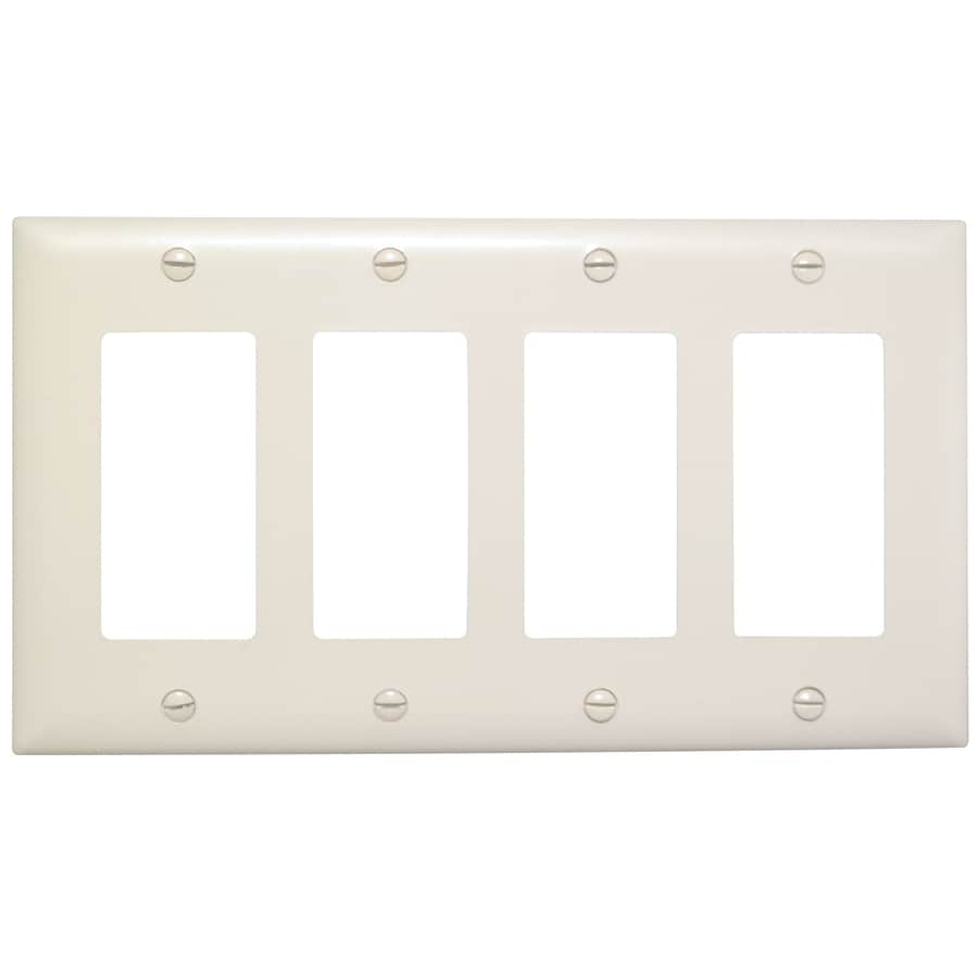 Pass & Seymour/Legrand Trademaster 4-Gang Light Almond Quad Decorator Wall Plate
