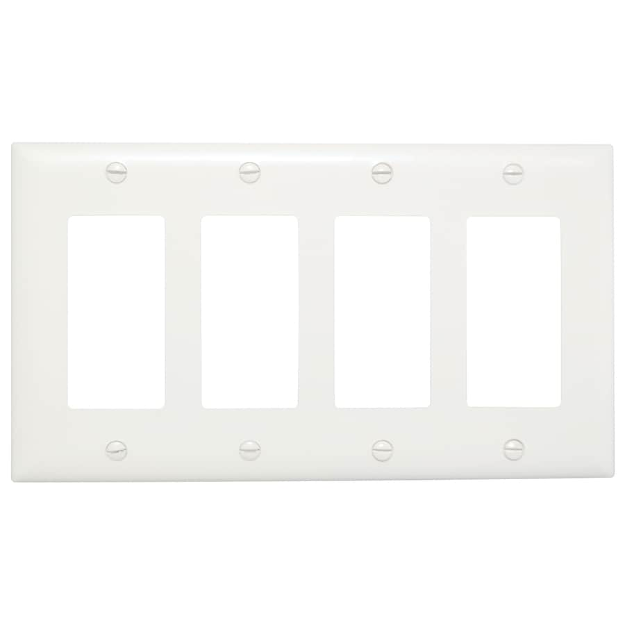 Pass & Seymour/Legrand Trademaster 4-Gang White Quad Decorator Wall Plate