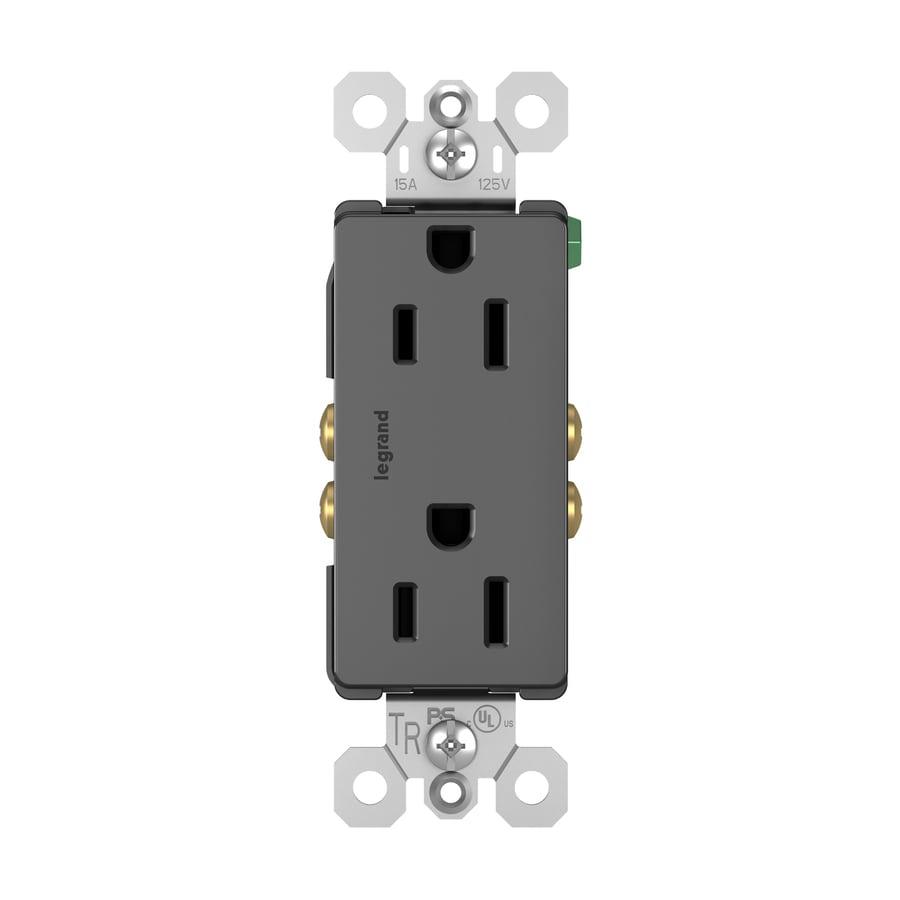 Legrand Radiant 15-Amp 125-Volt Black Indoor Decorator Wall Tamper Resistant Outlet