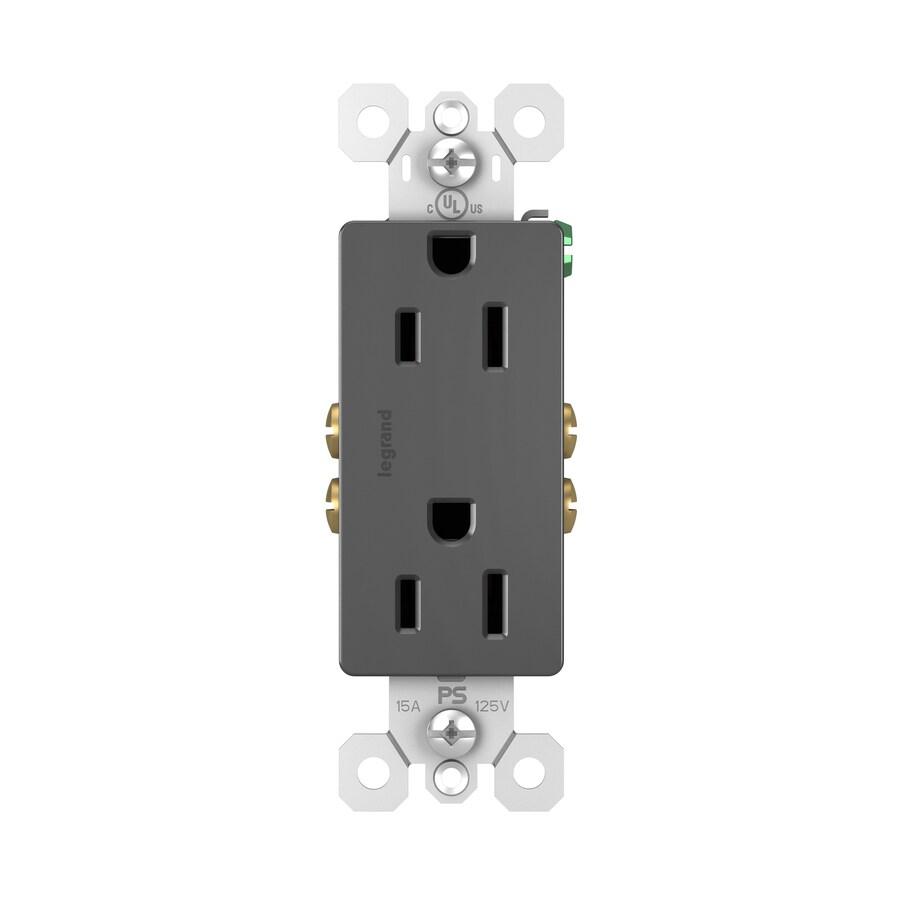 Legrand Radiant 15-Amp 125-Volt Black Indoor Decorator Wall Outlet