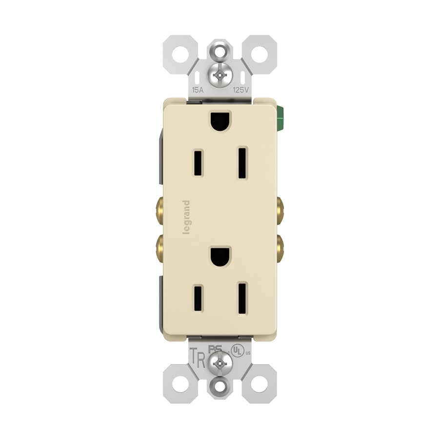 Legrand Radiant 15-Amp 125-Volt Light Almond Indoor Decorator Wall Tamper Resistant Outlet